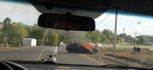 Во время ДТП в Мордовии произошло возгорание автомобиля (ФОТО)