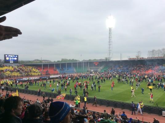 Фанаты «Спартака» уничтожили ворота на тульском стадионе