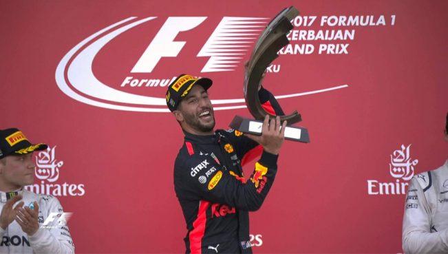 Даниэль Риккардо выиграл Гран-при Азербайджана Формулы-1